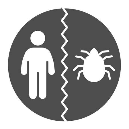 Man and flea divided solid icon, pest control concept, insect control and extermination service sign on white background, Be careful with parasites emblem icon in glyph style. Vector.
