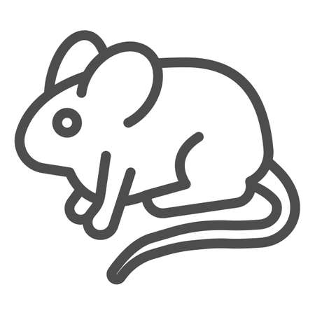 Experimental laboratory mouse line icon, pest control concept, rat sign on white background, mouse icon in outline style for mobile concept and web design. Vector graphics.