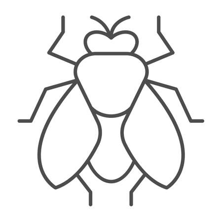 Fly thin line icon, pest control concept, insect sign on white background, fly silhouette icon in outline style for mobile concept and web design. Vector graphics.