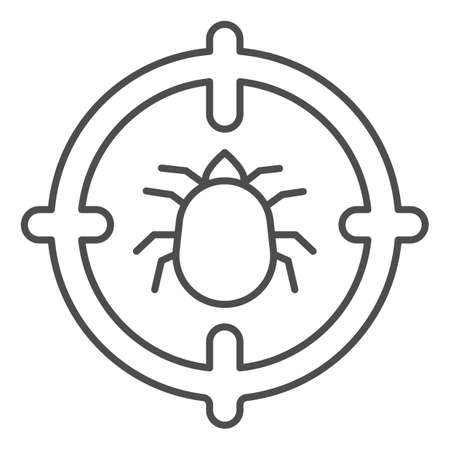 Flea in target thin line icon, pest control concept, Flea warning sign on white background, catch bedbugs parasite icon in outline style for mobile concept and web design. Vector graphics.