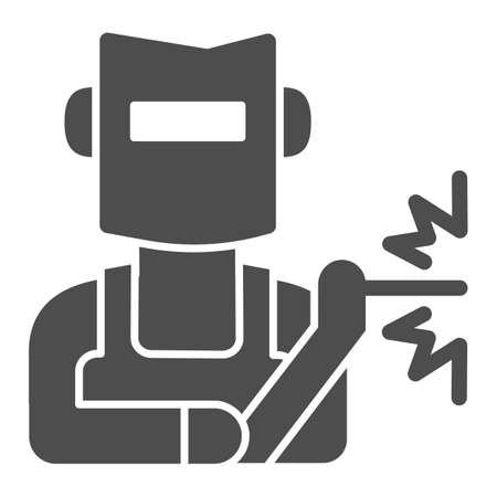 Welder in helmet solid icon, labour day concept, Man in a mask performing welding of metal sign on white background, Welder icon in glyph style for mobile and web design. Vector graphics. Stock Illustratie