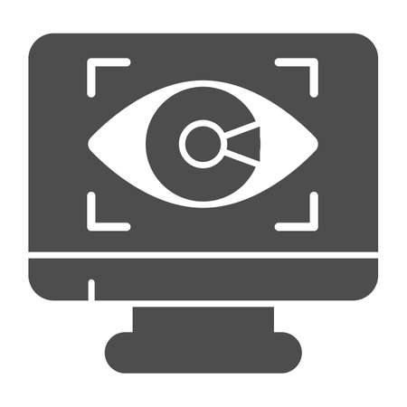 Monitor with eye solid icon, web security concept, Cyber eye symbol on white background, Application monitoring icon in glyph style for mobile concept and web design. Vector graphics.