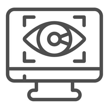 Monitor with eye line icon, web security concept, Cyber eye symbol on white background, Application monitoring icon in outline style for mobile concept and web design. Vector graphics.