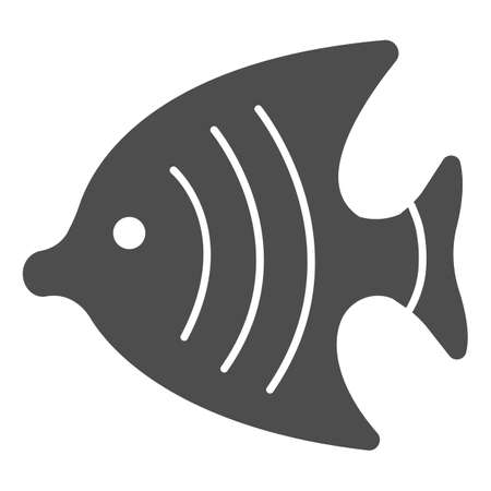 Fish for aquarium solid icon, domestic animals concept, Goldfish sign on white background, aquarium fish silhouette icon in glyph style for mobile concept and web design. Vector graphics.