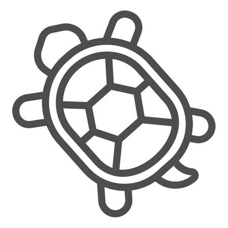 Turtle with hard shell line icon, domestic animals concept, tortoise sign on white background, Turtle icon in outline style for mobile concept and web design. Vector graphics.