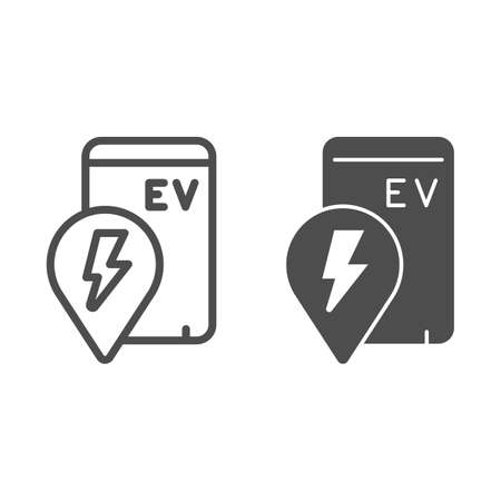 Location pin and smartphone with ev line and solid icon, electric car concept, location of electric station sign on white background, phone search charge station icon outline style. Vector graphics. Иллюстрация