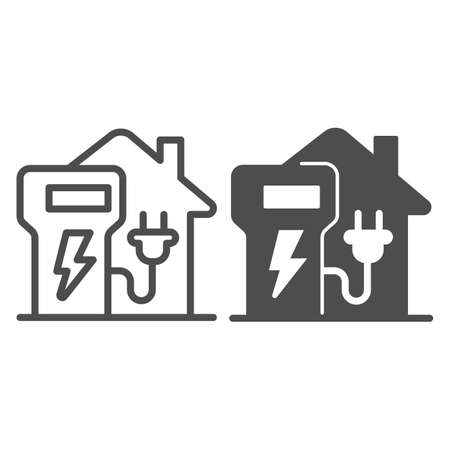 Home charging station line and solid icon, electric car concept, home recharge point sign on white background, EV Charging at Home icon in outline style for mobile and web design. Vector graphics.