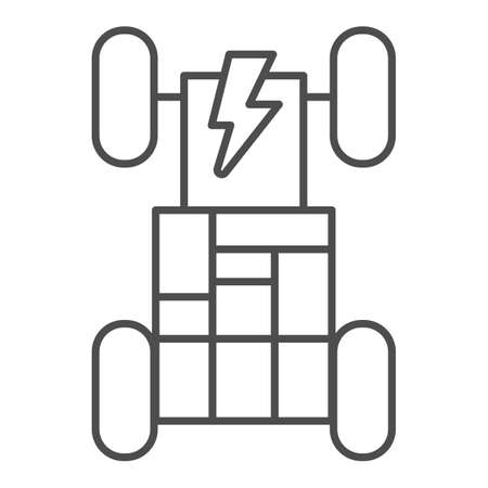 Vehicle chassis with rechargeable batteries thin line icon, electric car concept, automobile with energy battery sign on white background, electronic car systems icon in outline style. Vector.