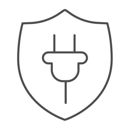 Protection emblem and plug thin line icon, electric car concept, protect alternative electrical energy resources sign on white background, Plug and Shield icon in outline style. Vector graphics.
