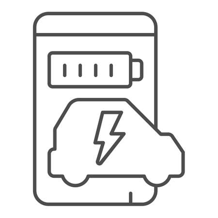 Smartphone and app for electric car thin line icon, electric car concept, Smart phone app for monitoring electric car charging progress icon in outline style for mobile and web. Vector graphics. Иллюстрация