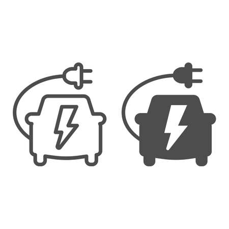 Car with plug cord and lightning line and solid icon, electric car concept, charging vehicle sign on white background, electric ecological transport icon in outline style for mobile. Vector graphics. Иллюстрация