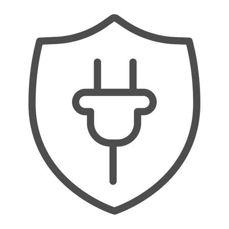 Protection emblem and plug line icon, electric car concept, protect alternative electrical energy resources sign on white background, Plug and Shield icon in outline style. Vector graphics.