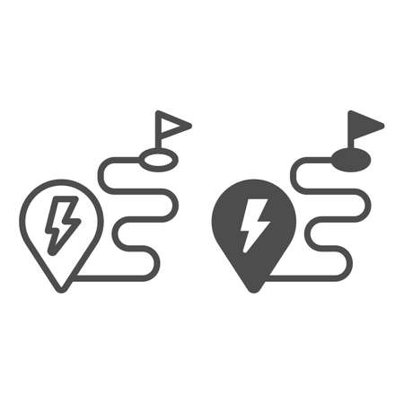 Route and location pin with lightning line and solid icon, electric car concept, Charge geo tag on map sign on white background, Route to ev refueling icon in outline style. Vector graphics. Иллюстрация