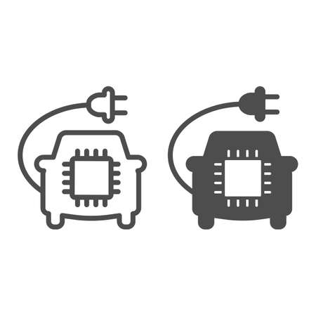 Car with plug and processor chip line and solid icon, electric car concept, Car Circuit Board sign on white background, Smart Automobile icon in outline style for mobile and web. Vector graphics.