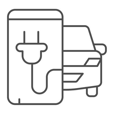Electric car and smartphone with plug thin line icon, electric car concept, Monitoring electric car charging sign on white background, smart phone app with plug icon in outline style. Vector.