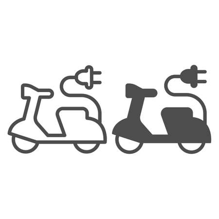 Electric scooter and cord with plug line and solid icon, electric car concept, EV bike sign on white background, Green transport Symbol in outline style for mobile and web design. Vector graphics. Иллюстрация