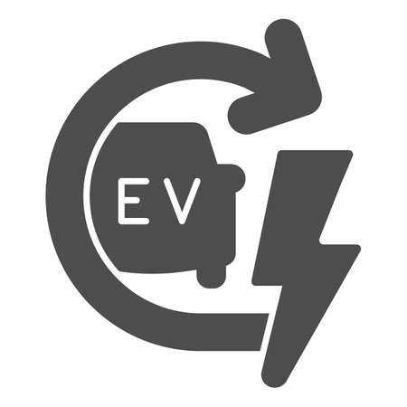 Recharging electric car solid icon, electric car concept, EV with arrow and lightning sign on white background, E-car icon in glyph style for mobile concept and web design. Vector graphics.