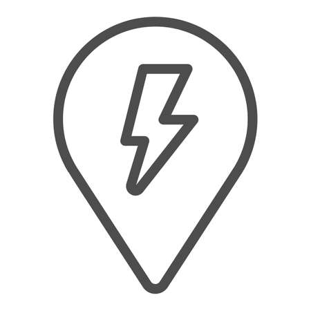 Location map pin and lightning line icon, electric car concept, recharge point sign on white background, map mark with a lightning icon in outline style for mobile and web. Vector graphics.