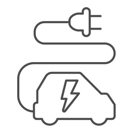 Car and cord with plug thin line icon, electric car concept, ecological transport sign on white background, electric eco car with wire plug icon in outline style for mobile, web. Vector graphics.