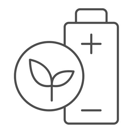 Eco battery thin line icon, electric car concept, Green energy sign on white background, Green leaf and battery sign in outline style for mobile concept and web design. Vector graphics. Иллюстрация