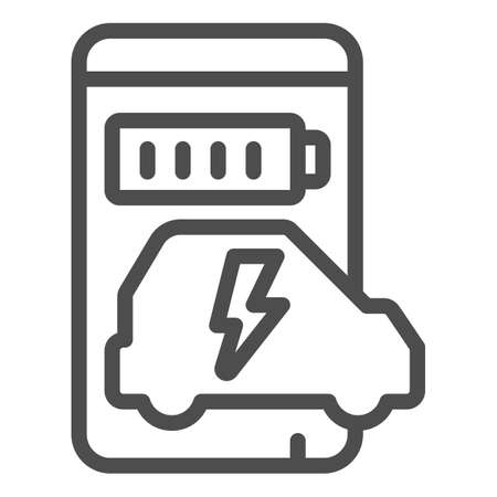 Smartphone and app for electric car line icon, electric car concept, Smart phone app for monitoring electric car charging progress icon in outline style for mobile and web. Vector graphics.