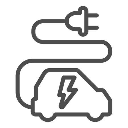 Car and cord with plug line icon, electric car concept, ecological transport sign on white background, electric eco car with wire plug icon in outline style for mobile, web. Vector graphics. Иллюстрация
