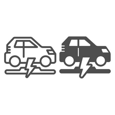 Wireless charging of electric car line and solid icon, electric car concept, electric car charging point sign on white background, Wireless charging station for vehicle icon in outline style. Vector. Иллюстрация