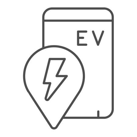 Location pin and smartphone with ev thin line icon, electric car concept, location of electric station sign on white background, phone search charge station icon outline style. Vector graphics.
