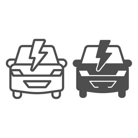 Car and lightning line and solid icon, electric car concept, Electric Car on white background, hybrid vehicle icon in outline style for mobile concept and web design. Vector graphics. Иллюстрация