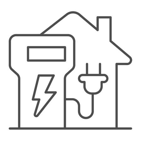 Home charging station thin line icon, electric car concept, home recharge point sign on white background, EV Charging at Home icon in outline style for mobile and web design. Vector graphics.