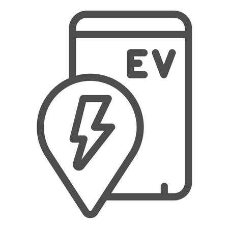 Location pin and smartphone with ev line icon, electric car concept, location of electric station sign on white background, phone search charge station icon outline style. Vector graphics.