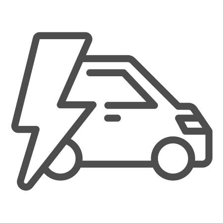 Car and lightning line icon, electric car concept, Electric Car on white background, hybrid vehicle icon in outline style for mobile concept and web design. Vector graphics.