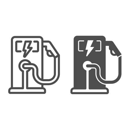 Electric fuel pump station line and solid icon, electric car concept, Electric vehicle charging station sign on white background, Charging point for hybrid vehicles icon in outline. Vector graphics. Иллюстрация