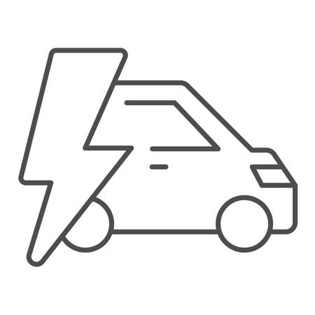 Car and lightning thin line icon, electric car concept, Electric Car on white background, hybrid vehicle icon in outline style for mobile concept and web design. Vector graphics.