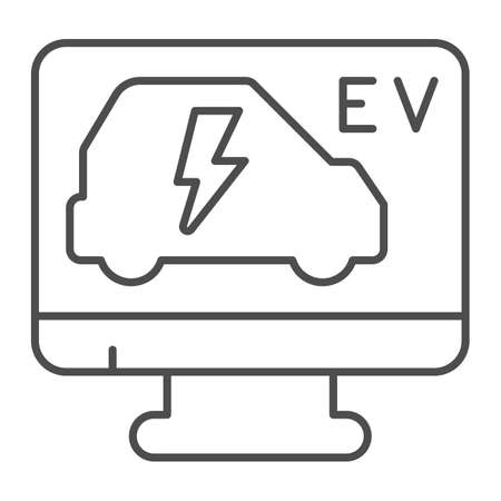 Computer monitor with electric car thin line icon, electric car concept, ev vehicle repair service sign on white background, computer diagnostic scan icon in outline style. Vector graphics.