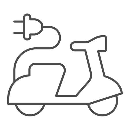 Electric scooter and cord with plug thin line icon, electric car concept, EV bike sign on white background, Green transport Symbol in outline style for mobile and web design. Vector graphics.