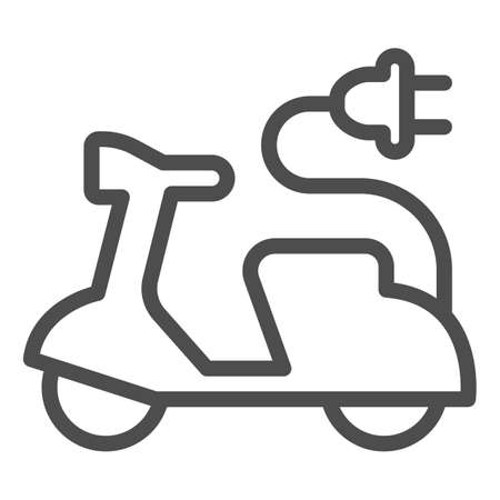 Electric scooter and cord with plug line icon, electric car concept, EV bike sign on white background, Green transport Symbol in outline style for mobile and web design. Vector graphics.