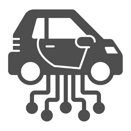 Vehicle and communication lines solid icon, electric car concept, car technology features sign on white background, Electric Car and network icon in glyph style. Vector graphics.