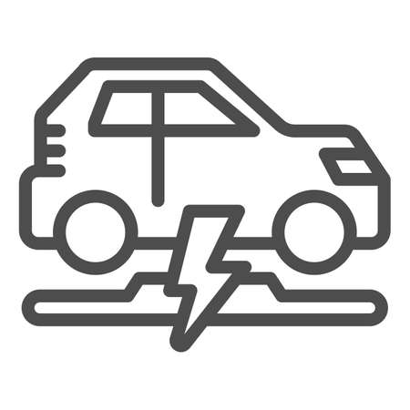 Wireless charging of electric car line icon, electric car concept, electric car charging point sign on white background, Wireless charging station for vehicle icon in outline style. Vector.