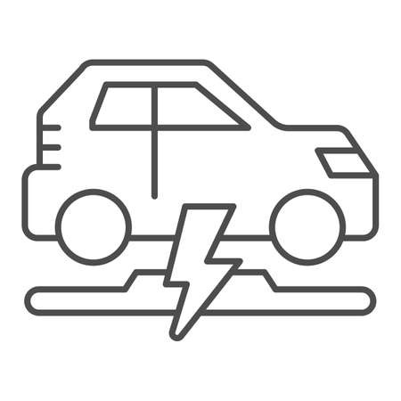 Wireless charging of electric car thin line icon, electric car concept, electric car charging point sign on white background, Wireless charging station for vehicle icon in outline style. Vector.