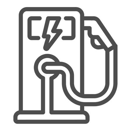 Electric fuel pump station line icon, electric car concept, Electric vehicle charging station sign on white background, Charging point for hybrid vehicles icon in outline. Vector graphics.