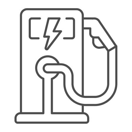 Electric fuel pump station thin line icon, electric car concept, Electric vehicle charging station sign on white background, Charging point for hybrid vehicles icon in outline. Vector graphics.