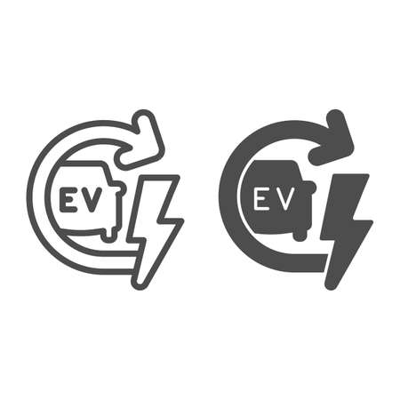 Recharging electric car line and solid icon, electric car concept, EV with arrow and lightning sign on white background, E-car icon in outline style for mobile concept and web design. Vector graphics.