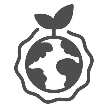 Planet with plant and ozone layer solid icon, electric car concept, Green Earth sign on white background, Ozone layer and plant with globe icon in glyph style. Vector graphics. Иллюстрация