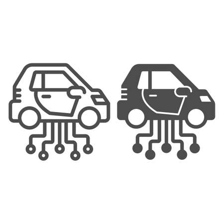 Vehicle and communication lines line and solid icon, electric car concept, car technology features sign on white background, Electric Car and network icon in outline style. Vector graphics.