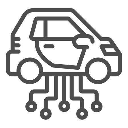 Vehicle and communication lines line icon, electric car concept, car technology features sign on white background, Electric Car and network icon in outline style. Vector graphics.