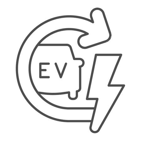 Recharging electric car thin line icon, electric car concept, EV with arrow and lightning sign on white background, E-car icon in outline style for mobile concept and web design. Vector graphics. Иллюстрация