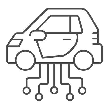 Vehicle and communication lines thin line icon, electric car concept, car technology features sign on white background, Electric Car and network icon in outline style. Vector graphics.