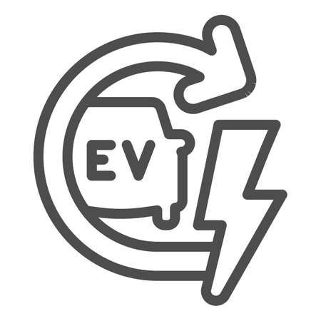 Recharging electric car line icon, electric car concept, EV with arrow and lightning sign on white background, E-car icon in outline style for mobile concept and web design. Vector graphics.