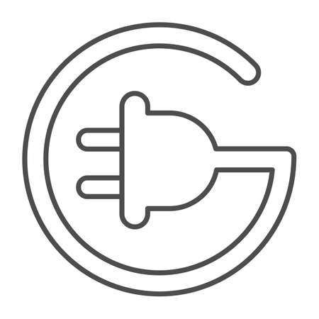 Cord with plug in circle shape thin line icon, electric car concept, Electric plug sign on white background, Power energy symbol in outline style for mobile and web design. Vector graphics. Иллюстрация
